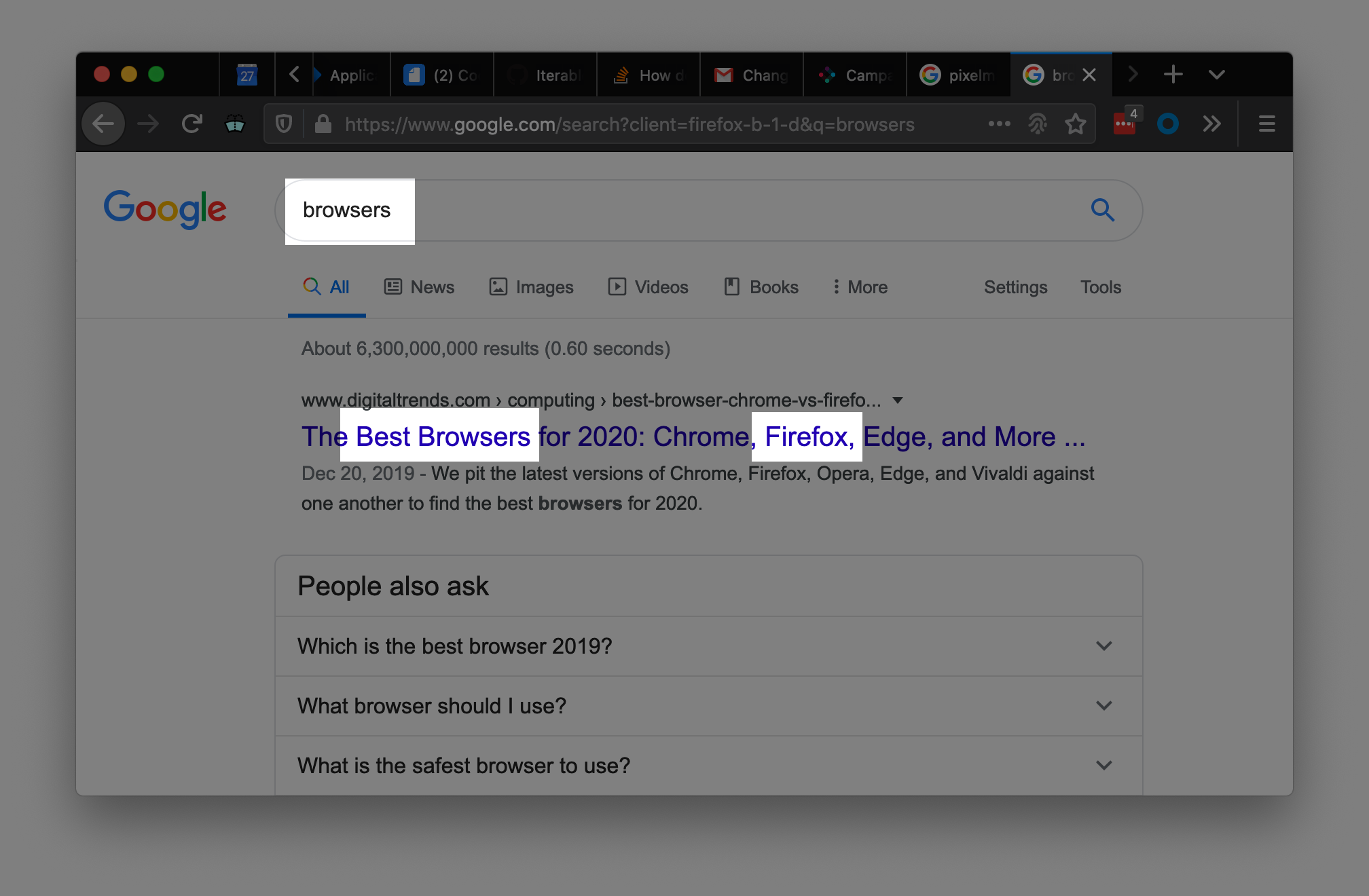 Example annotated screenshot of highlighting Firefox in best browsers google search