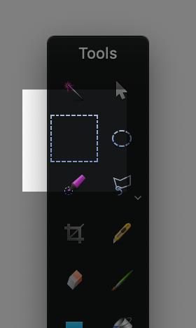 The Pixelmator rectangular marquee tool