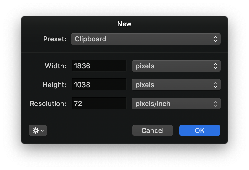 The new file dialog in Pixelmator, showing the dimensions imported from the clipboard image